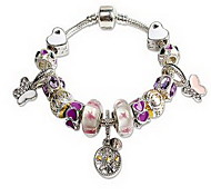 Women's Girls´ Chain Bracelet Crystal Crystal Alloy Natural Friendship Fashion Animal Shape Pink Jewelry 1pc