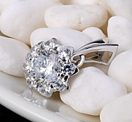 Pendants Sterling Silver Imitation Diamond Flower Style Love Luxury Jewelry For Daily Casual 1pc