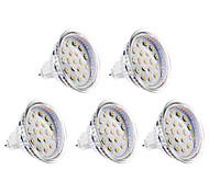 4W GU5.3(MR16) Spot LED MR16 15 SMD 2835 300 lm Blanc Chaud DC 12 / AC 12 V 5 pièces