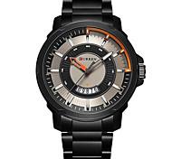 CURREN Men's Military Watch Fashion Watch / Quartz Leather Band Casual Luxury Black Silver