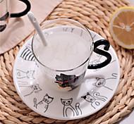 Transparente Desenho Artigos para Bebida, 300 ml Decoração presente namorada Vidro Suco Leite Canecas de Café
