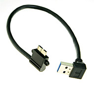 Down Angled 90 Degree USB 3.0 to Micro 10Pin Left Angled Cable 20cm for Cell phone & Hard Disk SSD