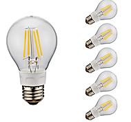 4W E26 Lampadine LED a incandescenza A60(A19) 4 COB 400/500 lm Bianco caldo Luce fredda AC 110-130 V 6 pezzi