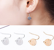 Round Face Smile Earrings Jewelry Wedding Party Daily Casual Alloy 1 pair Gold Silver