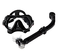 Diving Masks Snorkels Swim Mask Goggle Snorkel Set Dry Top Diving / Snorkeling Glass silicone-SBART