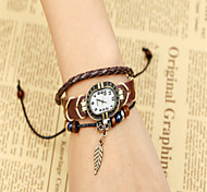 Unisex Fashion Watch Bracelet Watch Quartz Leather Band Casual Brown