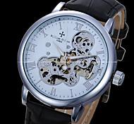 Men's Skeleton Watch Quartz Genuine Leather Band Black Brand