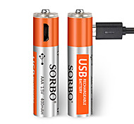 SORBO AAA Lithium Battery 1.5V 400mAh 2 Pack USB