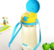 Cartoon Drinkware, 500 ml Portable Leak-proof Plastic Tea Juice Water Bottle with lanyard