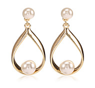 lureme  Pearl Geometric Drop Earrings Jewelry Unique Design Euramerican Crossover Fashion Punk Daily Casual Pearl Alloy