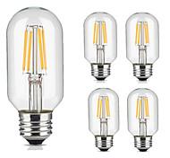 5pcs T45 4W E27 Vintage LED Filament Light Bulb Warm/Cool White Color Tubular Style Retro Edison Lamp AC220-240V