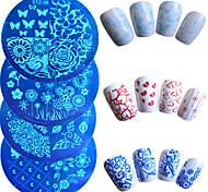 7шт / компл горячей продажи моды ногтей штамповки пластины красочный цветок бабочка прекрасный сердце дизайн маникюра трафареты для ногтей