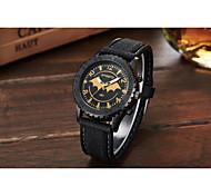 Men's Sport Watch Quartz Leather Band Black