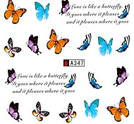 10pcs/set Fashion Sweet Style Nail Water Transfer Decals Colorful Butterfly Design Nail Beauty Sticker A347