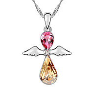 Women's Pendant Necklaces Crystal Drop Wings / Feather Chrome Circular Jewelry For Congratulations Casual 1pc