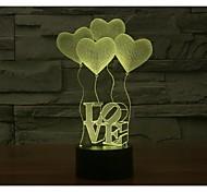 День Святого Валентина четыре любви 3D-огни красочный сенсорный визуальный трехмерный энергосберегающий градиент лампы