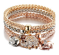 Bohemia Punk Birthday Gift Elephant Diamond Pendant Three - color Elasticity Bracelet Valentine Gift Gold1pc