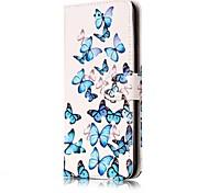Для Бумажник для карт Кошелек со стендом Флип С узором Магнитный Кейс для Чехол Кейс для Бабочка Твердый Искусственная кожа для Apple