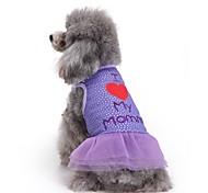 Коты Собаки Платья Одежда для собак Лето Буквы и цифры Милые Мода На каждый день Лиловый