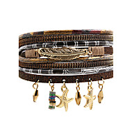 Leather Bracelet Leather Alloy Fashion Bohemian Star Leaf Black Gray Brown Blue Dark Red Jewelry 1pc