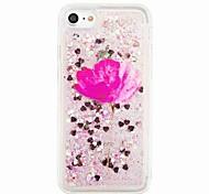 Para Liquido Flutuante Estampada Capinha Capa Traseira Capinha Brilho com Glitter Flor Macia TPU para AppleiPhone 7 Plus iPhone 7 iPhone