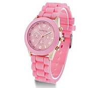Unisex Fashion Watch Quartz Silicone Band Casual Brown Pink Yellow