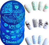 10шт / комплект горячей продажи ногтей конгрев пластина прекрасный мультфильм сердце красивая бабочка цветок дизайн маникюра поделок