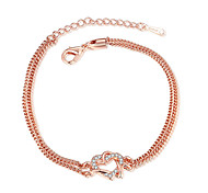 Exquisite Rose Gold Plated Clear Crystal Sweet Heart Chain & Link Bracelets Jewellery for Women Accessiories