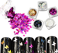 5bottle/set Hot Fashion Sweet Style Nail Glitter Laser Sparkling Butterfly Paillette Nail DIY Bling Beautiful Butterfly Slice Decoration HD01-05