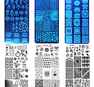 10шт / комплект новый сладкий красочное изображение дизайн ногтей из нержавеющей стали штамповки пластины поделки моды штамповку трафареты