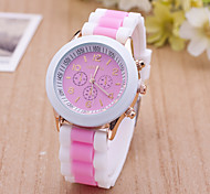 Women's Sport Watch Dress Watch Fashion Watch Wrist watch Large Dial Quartz Silicone Band Charm Multi-Colored