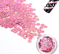 1 Bottle Fashion Sweet Style Pink Laser Glitter Stripe Round Paillette Beautiful Nail Glitter Decoration Nail DIY Beauty Shiny Clear Thin Slice TW11