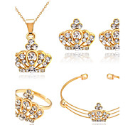 Jewelry Set Crystal Basic Rhinestone Alloy Crown 1 Necklace 1 Pair of Earrings 1 Bracelet Rings For Wedding Party Special Occasion