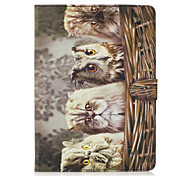 For Apple iPad Pro 9.7'' iPad Air 2 iPad Air Case Cover Owl Pattern Painted Card Stent Wallet PU Skin Material Flat Protective Shell