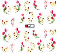 10pcs/set Nail Art Sticker Beautiful Flower Lovely Butterfly Design Nail Water Transfer Decals Nail DIY Tip A315