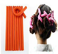 10 Pcs/Set Soft Hair Curler Roller Curl Hair Bendy Rollers Diy Magic Hair Curlers Tool 24*1.2Cm  Random Colors