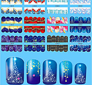 10pcs/style Romantic Christmas Sweet Nail Art Sticker Beautiful Design Colorful Nail Water Transfer Decals Nail Beauty Sticker BN205-216