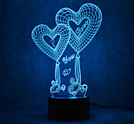 Christmas Love Touch Dimming 3D LED Night Light 7Colorful Decoration Atmosphere Lamp Novelty Lighting Christmas Light