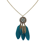 Women's Pendant Necklaces Jewelry Jewelry Feather Alloy Euramerican Fashion Personalized Light Green Light Blue Red Jewelry ForParty