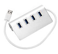 4 порта USB 3.0 высокоскоростной концентратор ультра тонкий серебряный моды