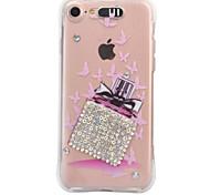 Para o iphone da maçã 7 7 mais 6s 6 mais a tampa do caso frasco de perfume a gota do diamante do teste padrão vem com a caixa do telefone