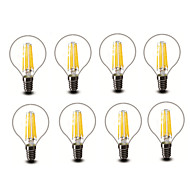 4.5W E14 E27 Bombillas de Filamento LED G45 6 COB 600 lm Blanco Cálido Decorativa AC220 AC230 AC240 V 8 piezas