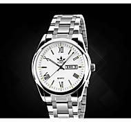 Men's Fashion Watch Quartz Alloy Band Silver Blue Black White