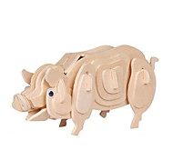 Jigsaw Puzzles 3D Puzzles Building Blocks DIY Toys Pig Wood Model & Building Toy