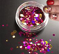1bottle моды смешанного блеска красочные ногтей блеск круглый блестка кусочек лака для ногтей красоты красоты круглый ломтик украшения p3