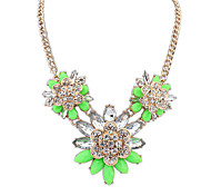 Women's Strands Necklaces Jewelry Jewelry Gem Alloy Euramerican Fashion Light Green Light Blue Red White Jewelry ForParty Special