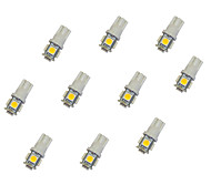 10Pcs T10 5*5050 SMD LED Car Light Bulb Warm Light DC12V