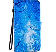 For Samsung Galaxy S8 Plus S8 Case Cover Blue Woods Pattern Painted Card Stent PU Material Phone Case S7 Edge S7 S6 S5