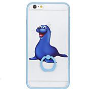 Para o caso do teste padrão do suporte do anel caso duro da tampa traseira dos leões de mar para o iphone 6s da maçã mais o iphone 6 mais