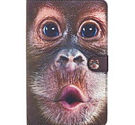 For Samsung Galaxy Tab E 9.6 Case Cover Monkey Pattern Painted Card Stent Wallet PU Skin Material Flat Protective Shell